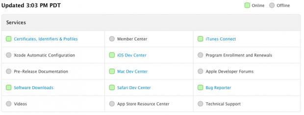 apple-dev-center-de-volta-status