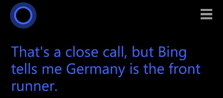 Cortana: Brasil PERDE para Alemanha na terça-feira